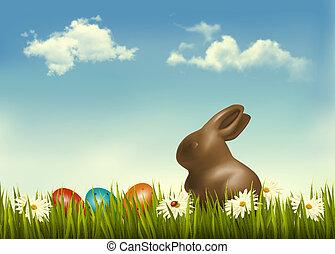 conejito de chocolate, con, huevos de pascua, en, grass.,...