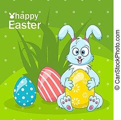 conejito de pascua, búsqueda de huevo, caricatura, conejo, saludo, bandera