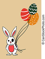 conejito de pascua, con, globo, huevos