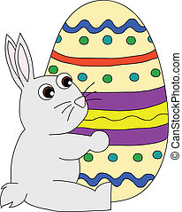conejito de pascua, con, huevo de pascua