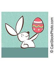 conejito de pascua, con, huevo pintado