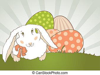 conejito de pascua, con, huevo, retro
