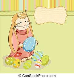 conejito de pascua, con, pintado, huevos