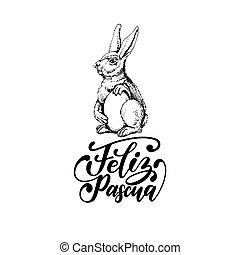 conejito, feliz, paschal, ilustración, pascua, huevo,...