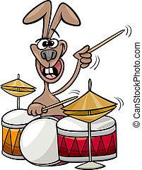 conejito, jugar los tambores, caricatura, ilustración
