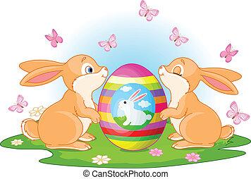conejitos de pascua, huevo, asideros