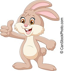 conejo, arriba, pulgares, caricatura, dar