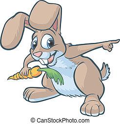 conejo, caricatura, señalar, feliz