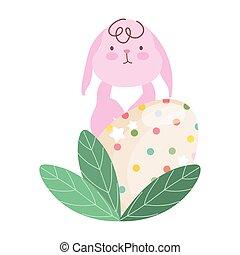 conejo, feliz, rosa, huevo, pascua, decortive, follaje