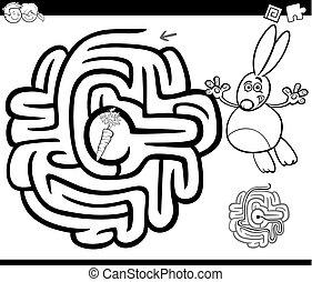 conejo, laberinto, página, colorido