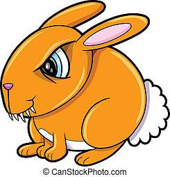 conejo, naranja, malo, conejito, animal
