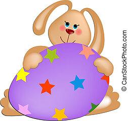 conejo pascua, con, huevo pintado