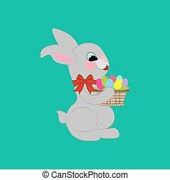 conejo pascua, con, huevos