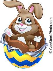 conejo, rotura, conejito chocolate pascua, afuera, huevo
