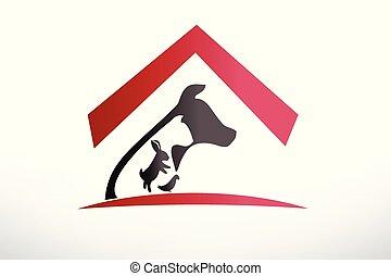 conejo, veterinario, perro de caza, logotipo