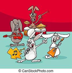 conejos, roca, músicos, banda, caricatura, ilustración