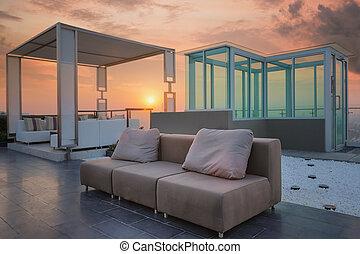 coner, jardim, relaxe, topo, telhado, condomínio