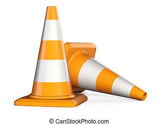 cones., 上に, 隔離された, 印, バックグラウンド。, 交通, 白, 道