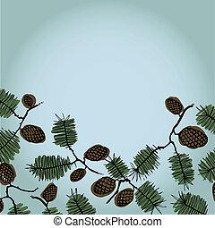 cones abeto, texto, quadro, fundo, ramo