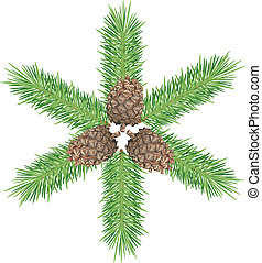 Cones & branch - Three cones & green tree branch. Isolated ...