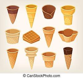 cones, cream., variações, gelo, waffle, copos