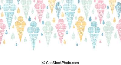 cones creme gelo, têxtil, coloridos, horizontais, seamless,...