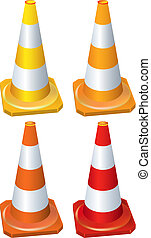 Four different traffic cone