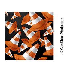 cones, listras, pretas, laranja, queda, estrada