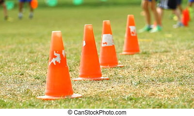 Cones on a soccer field and training children