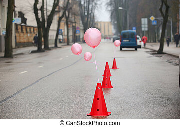 cones on the finish
