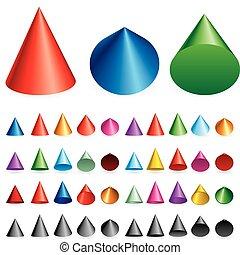 Set vector illustration of cones