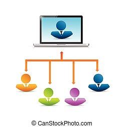 conexão, computador, desenho, rede, ilustração