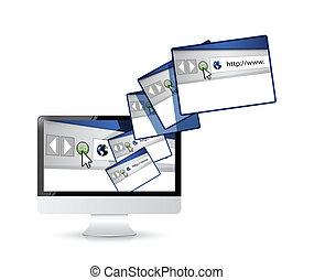conexão, computador, locais, internet