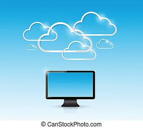 conexão, computador, nuvem, ilustração, computando