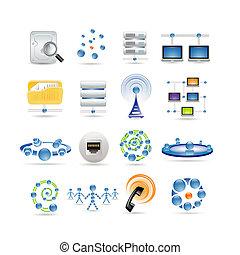 conexão, e, ícones internet