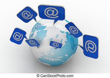 conexão global, conceito, internet
