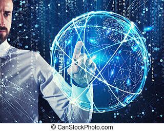 conexão global, conceito, rede, internet