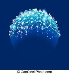 conexão, global, fundo