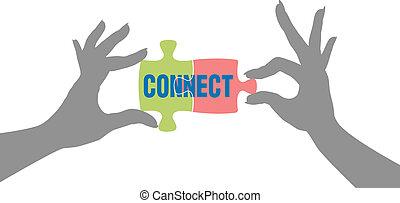conexão, mãos, solução, quebra-cabeça, achar