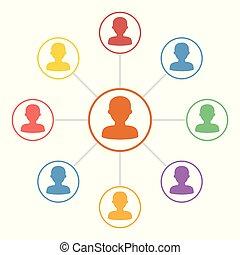 conexão, pessoas, coloridos, ícones