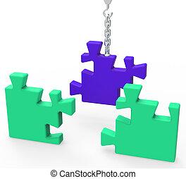 conexão, quebra-cabeça, mostrando, inacabado, realização