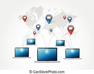 conexão, rede computador, email