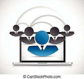 conexão, rede computador, pessoas