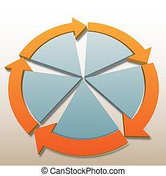 conexão, setas, 5, sistema, processo, ciclo, fundo