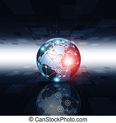 conexão, tecnologia, fundo