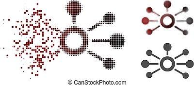 conexões, dissipated, halftone, ponto, ícone
