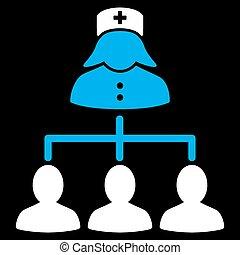conexões, enfermeira, pacientes, ícone