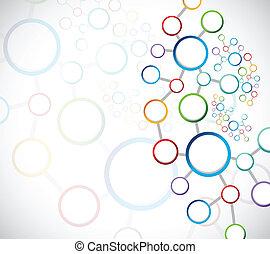 conexões, gráfico, link, rede, coloridos