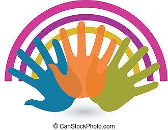conexões, logotipo, mãos