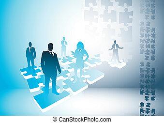 conexões, quebra-cabeça, pessoas
